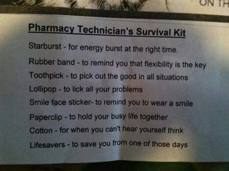 Pharmacy technicians survival kit Pharmacy peeps Pinterest - rite aid pharmacist sample resume