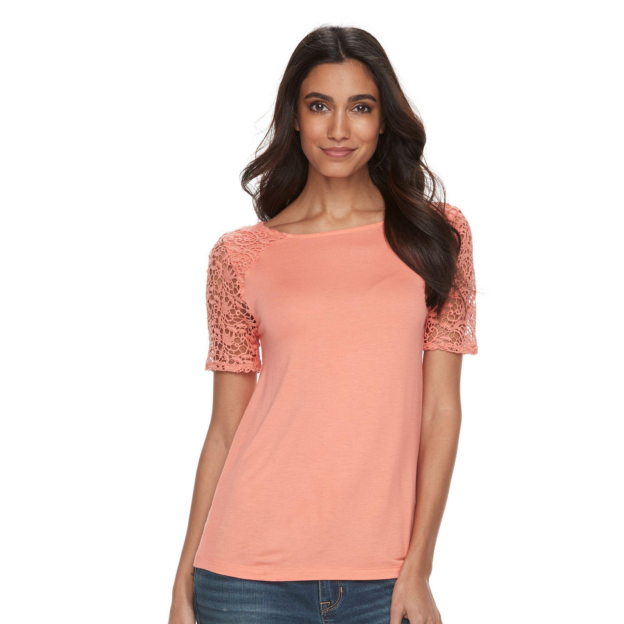 Petite Apt. 9® Crochet Sleeve Tee, Women's, Size: Xs Petite, Lt Orange