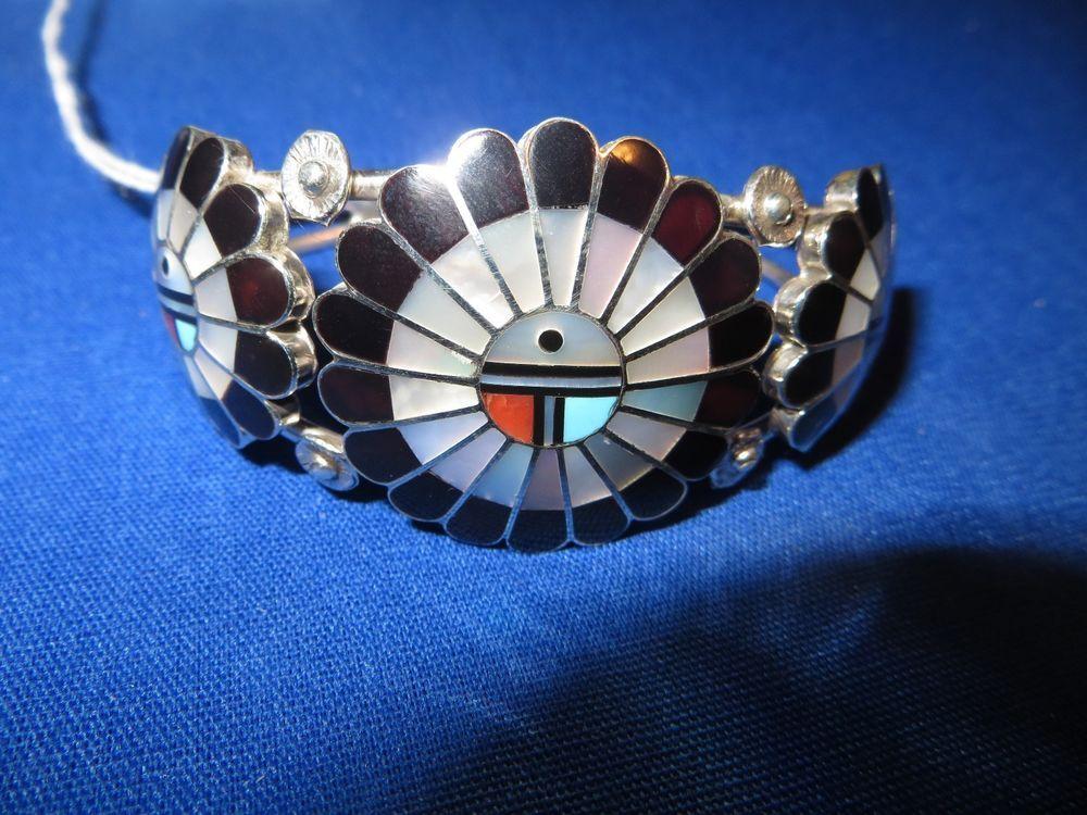 L & L Dickson Zuni Native American Turquoise Inlay Cuff Bracelet Sterling Silver #LorindaLarryDicksonZUNI