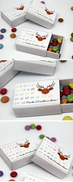 DIY Adventskalender in einer Streichholzschachtel selber machen Vorlage