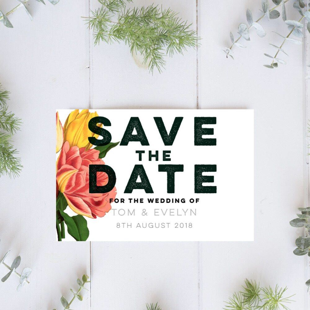 Floral Save the Date Magnet Save date Rustic save the date Custom