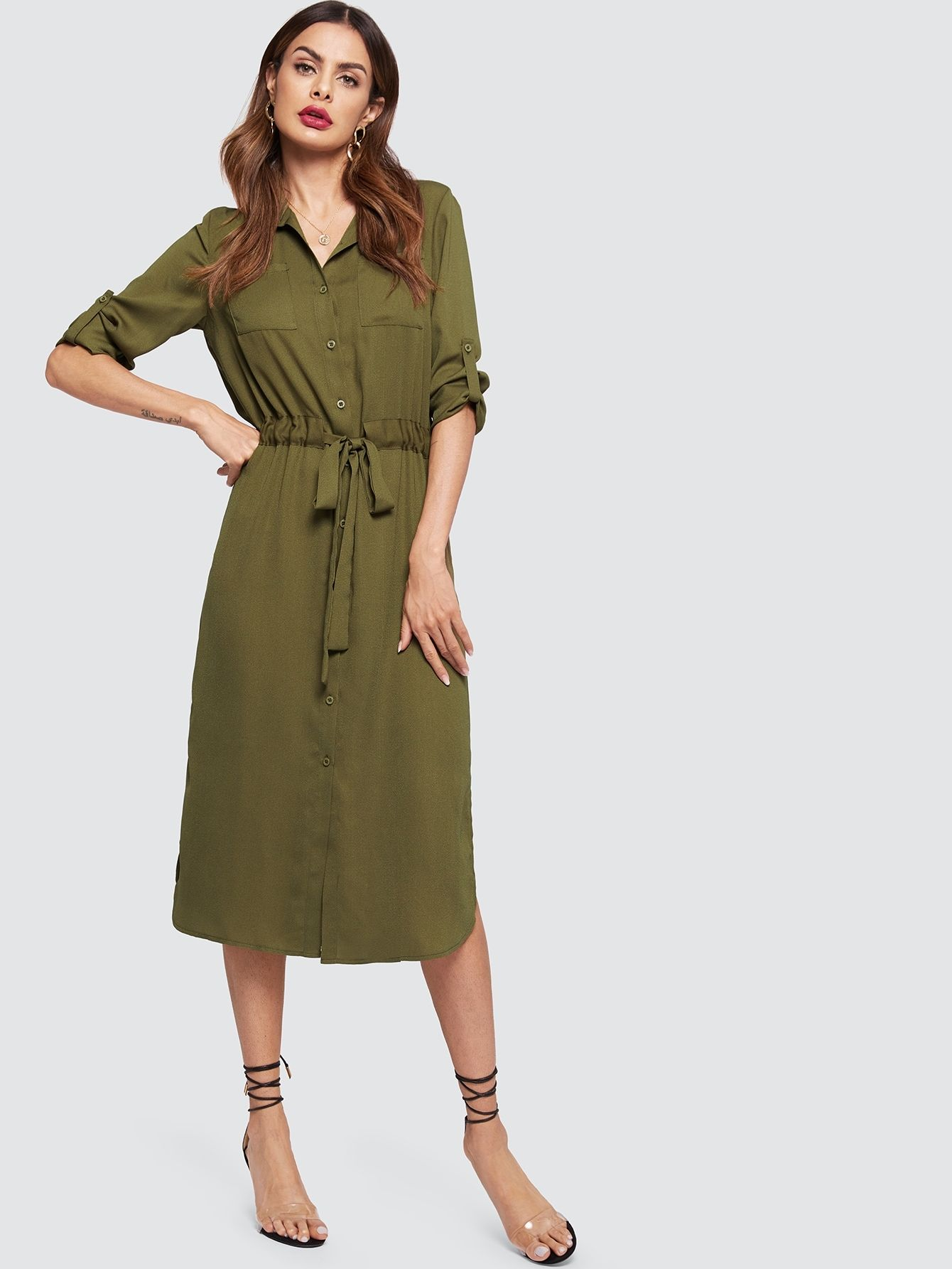 e2d6f5a9e3 Casual Shirt Button and Pocket and Drawstring and Split Plain Shift  Straight and Slit Collar Long Sleeve Roll Up Sleeve Natural Army Green Long  Length ...