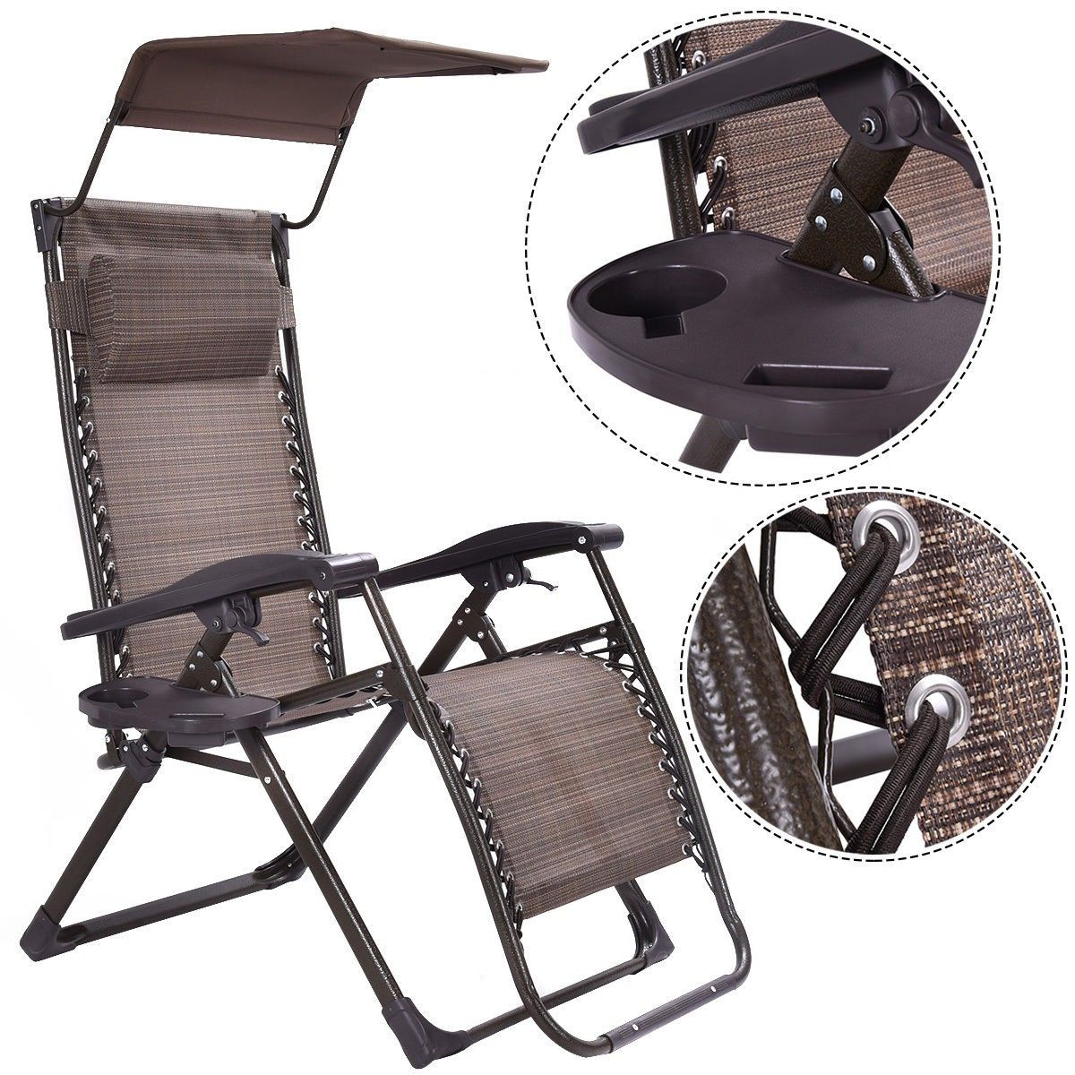 Foldable Zero Gravity Chair Lounge Patio Outdoor Yard Recliner W/  Sunshade+Tray