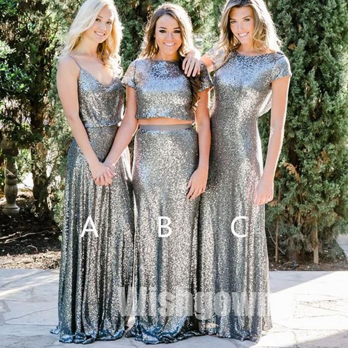 1a5d64e694a Affordable Mismatched Sexy Mermaid Long Wedding Sparkle Sequin Bridesmaid  Dresses