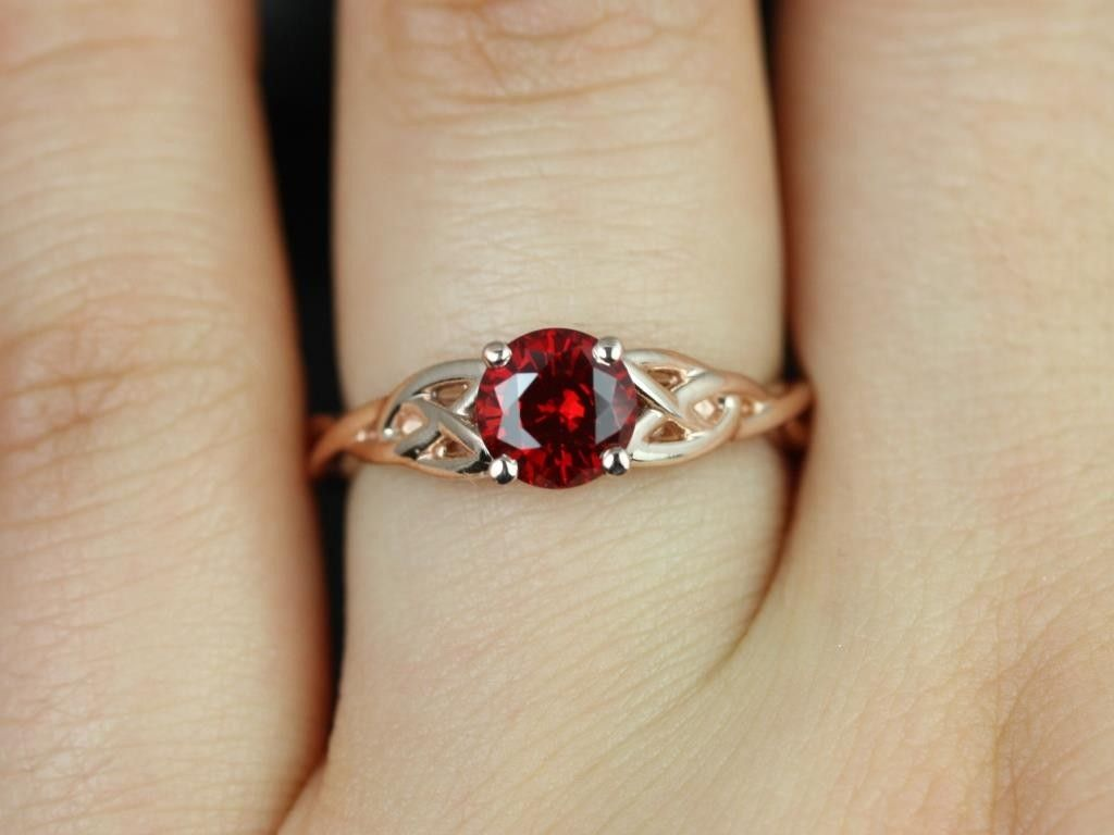 Find This Pin And More On Rings Cassidy Rose Gold Round Ruby Celtic Knot  Engagement