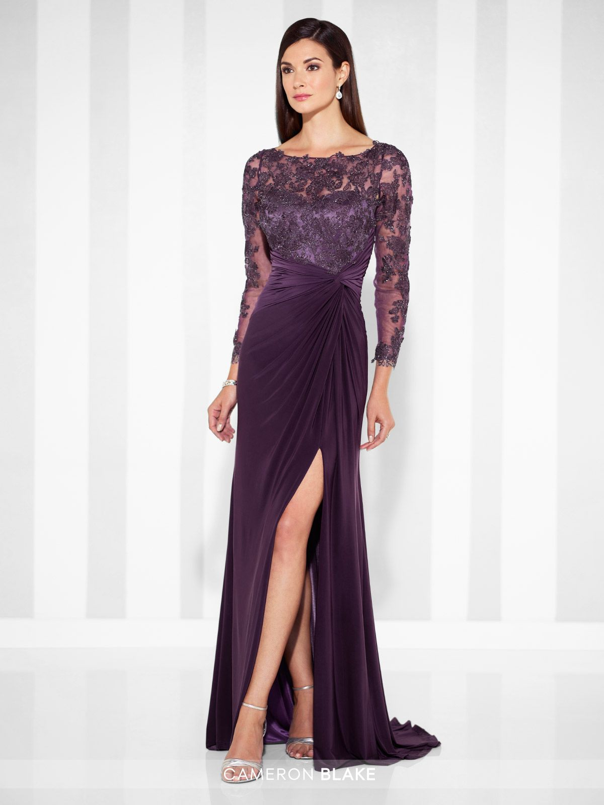 ec0f5c8b549c Cameron Blake - 117613 - Sleeveless jersey fit and flare gown with  hand-beaded metallic lace illusion front and back bateau necklines,  sweetheart bodice, ...