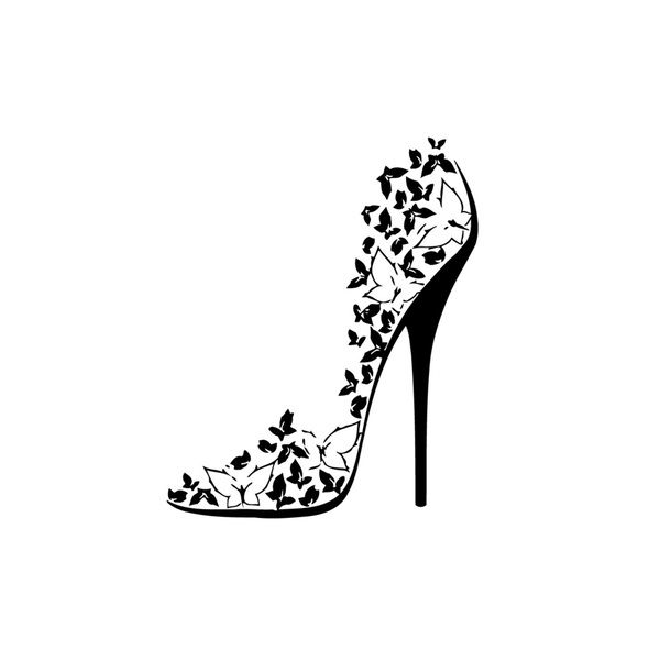 Butterfly High Heel Shoe Mural Vinyl Wall Art