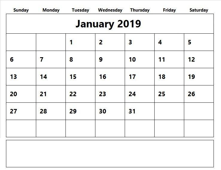 Jan Calendar 2019 Printable #january2019 #jan2019calendar