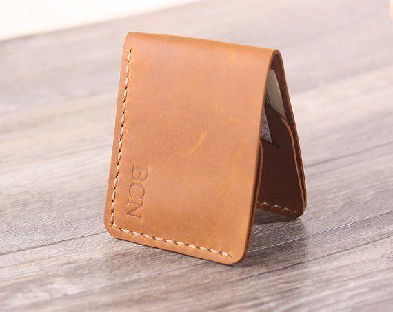 6bc52423847f2 Personlaized Slim Mens Leather Wallet -Handmade Front Pocket Wallet - Minimal  Wallet- Mens Gift - F