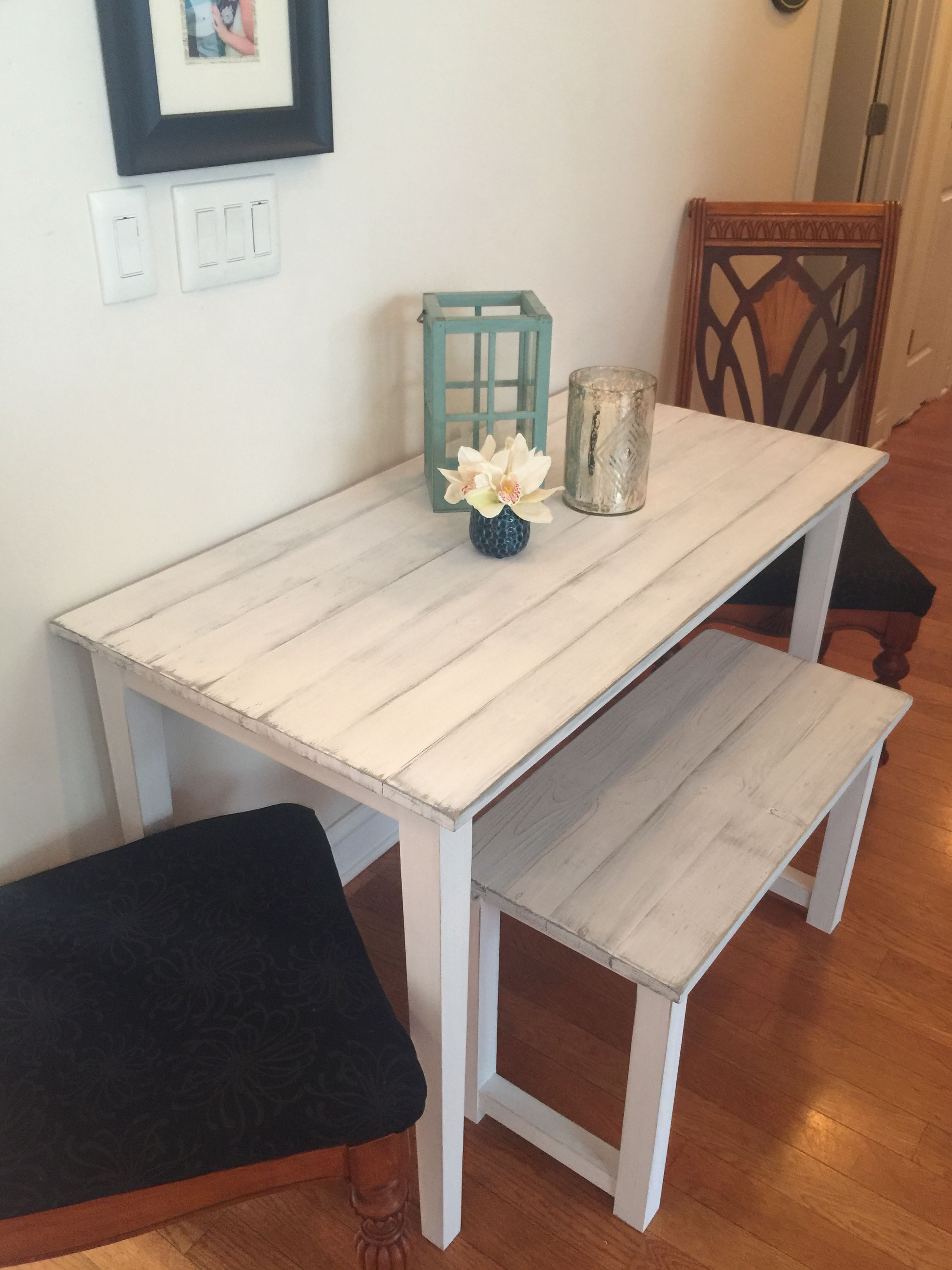 Small farmhouse table for small room. Bench and distressed white ...