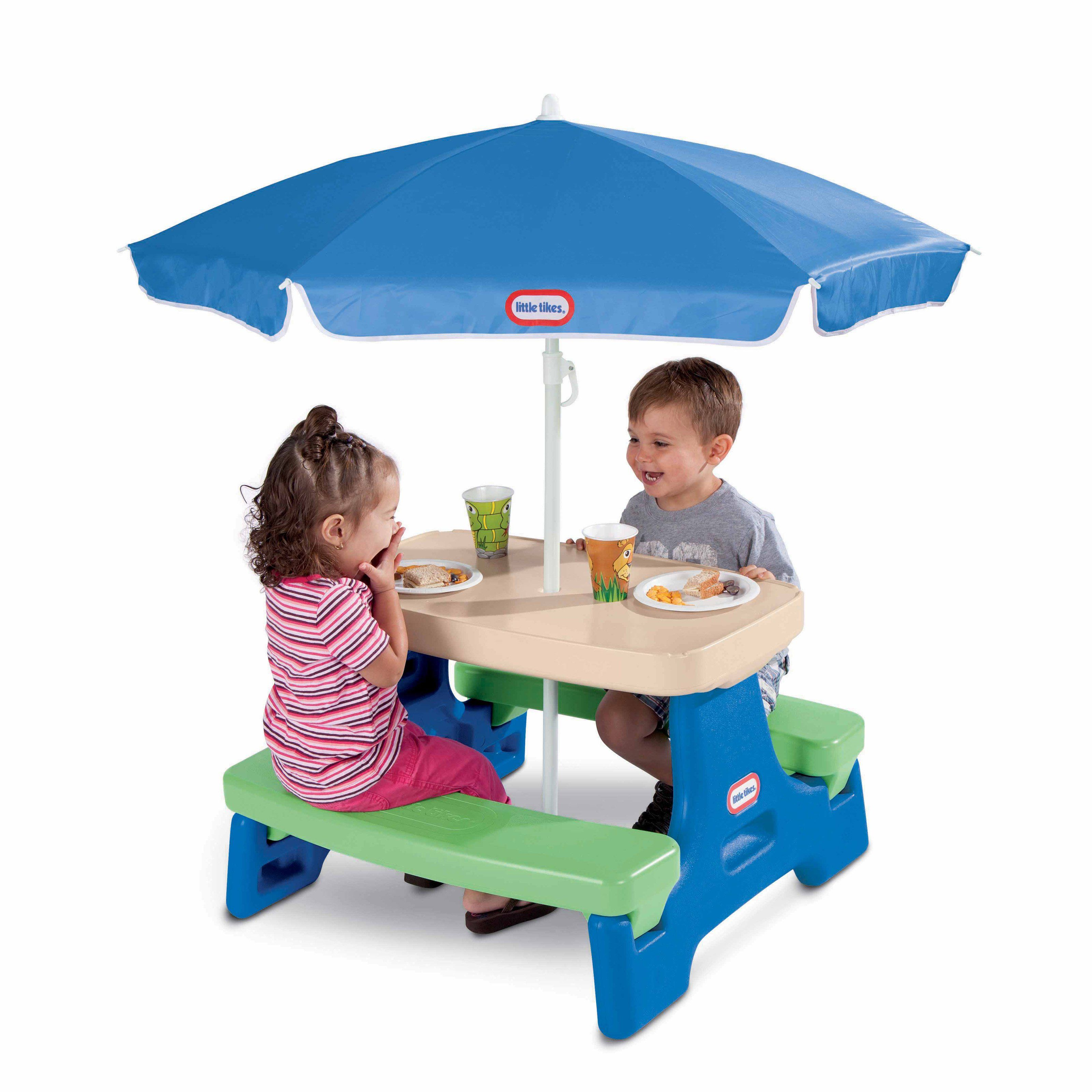 Outdoor Little Tikes Easy Store Jr Picnic Table With Umbrella