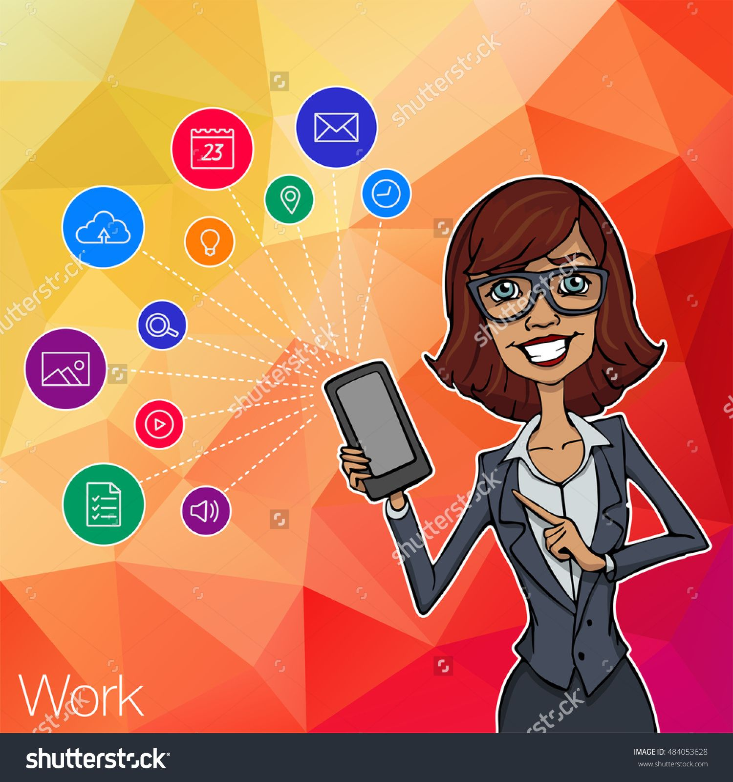 Woman Showing Smartphone Screen App For Network. Woman