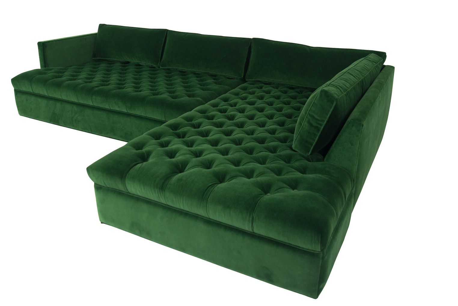 Upper East Side Sectional In Emerald Velvet Living Room Sofa