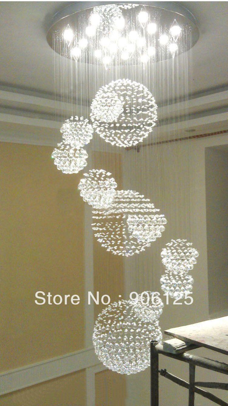 Modern Grand Foyer Chandeliers 80cm Modern Crystal Foyer