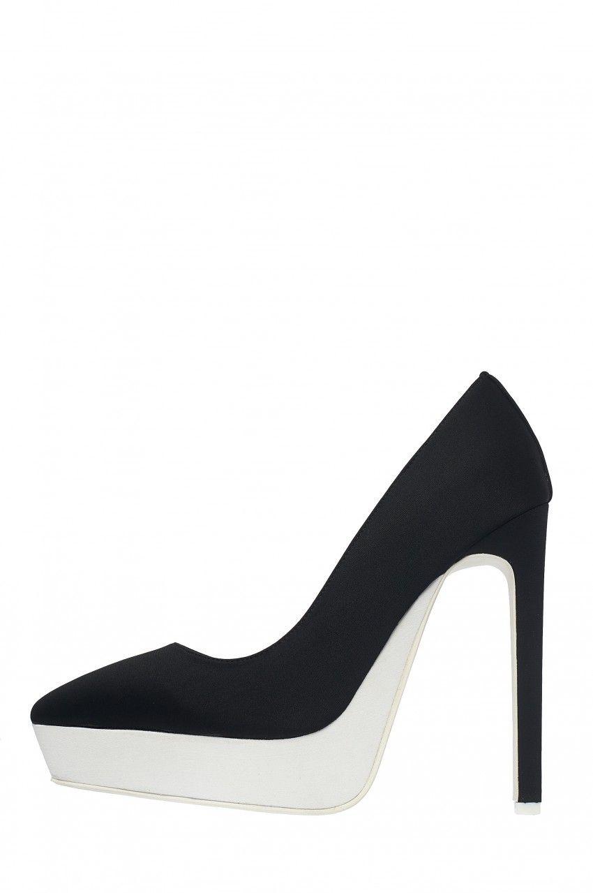 1cddf384810 Jeffrey Campbell Shoes TEMPEST Platforms in Black Neoprene White ...