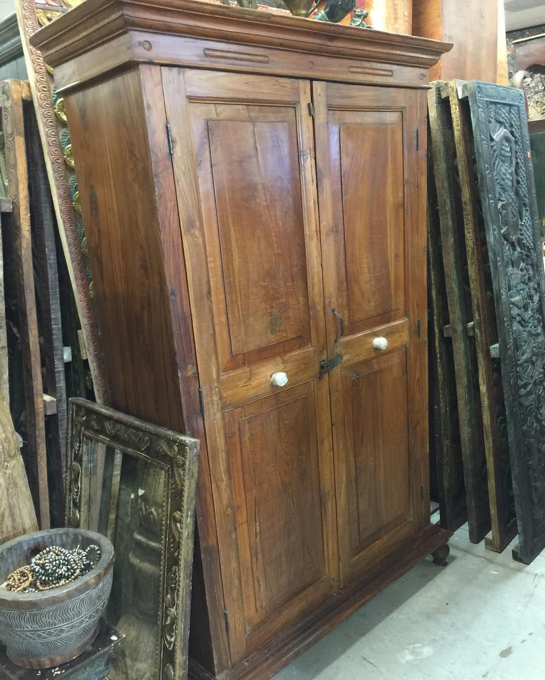 British Colonial Teak Almirah Rustic Old Wood Armoire Cabinet