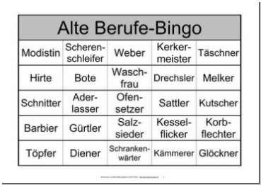 Themenbingo alte Berufe | Spiele für senioren, Bingo ...