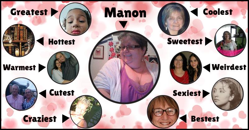 <B> Manon </ b>, vous avez un groupe d'amis vraiment cool et digne de confiance.  Ils sont dans votre Top 10 parce que vous appréciez leur existence et vous êtes heureux de les avoir dans votre vie.  Partagez et étiqueter vos amis.