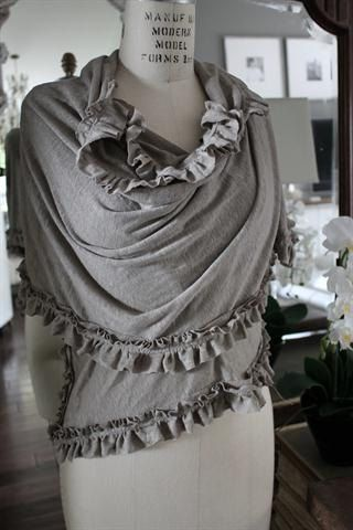 Vintage Ruffle Organic Linen Wrap Scarf Flax by FullBloomCottage, $89.00