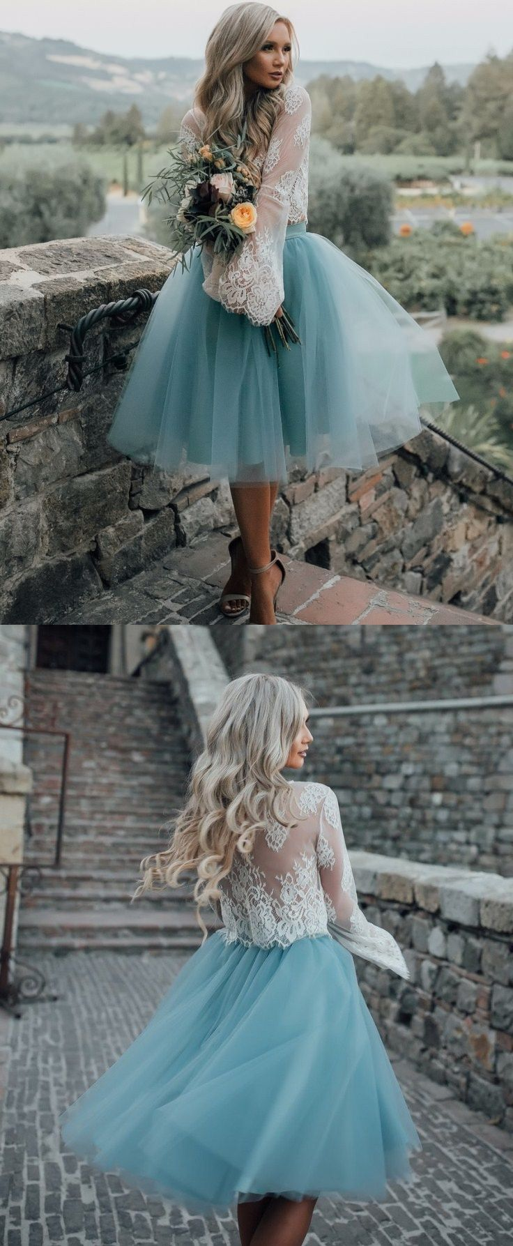 Dusty blue wedding dress  ALine Round Neck Flare Sleeves Sage Tulle Short Bridesmaid Dress