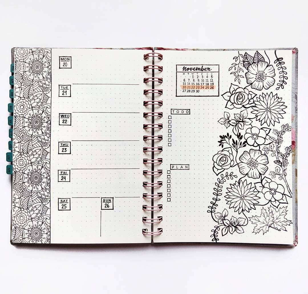 Bullet Journal Weekly Layout Unique Date Header Weekly Task List