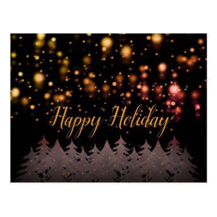 Happy Holiday Gold Starry Night Snowfall Trees Postcard - christmas