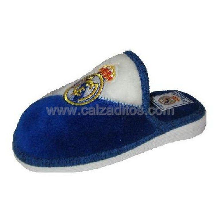 d4df6df8 Chinelas blanco-azul del Real Madrid de Andinas. Zapatillas de estar ...