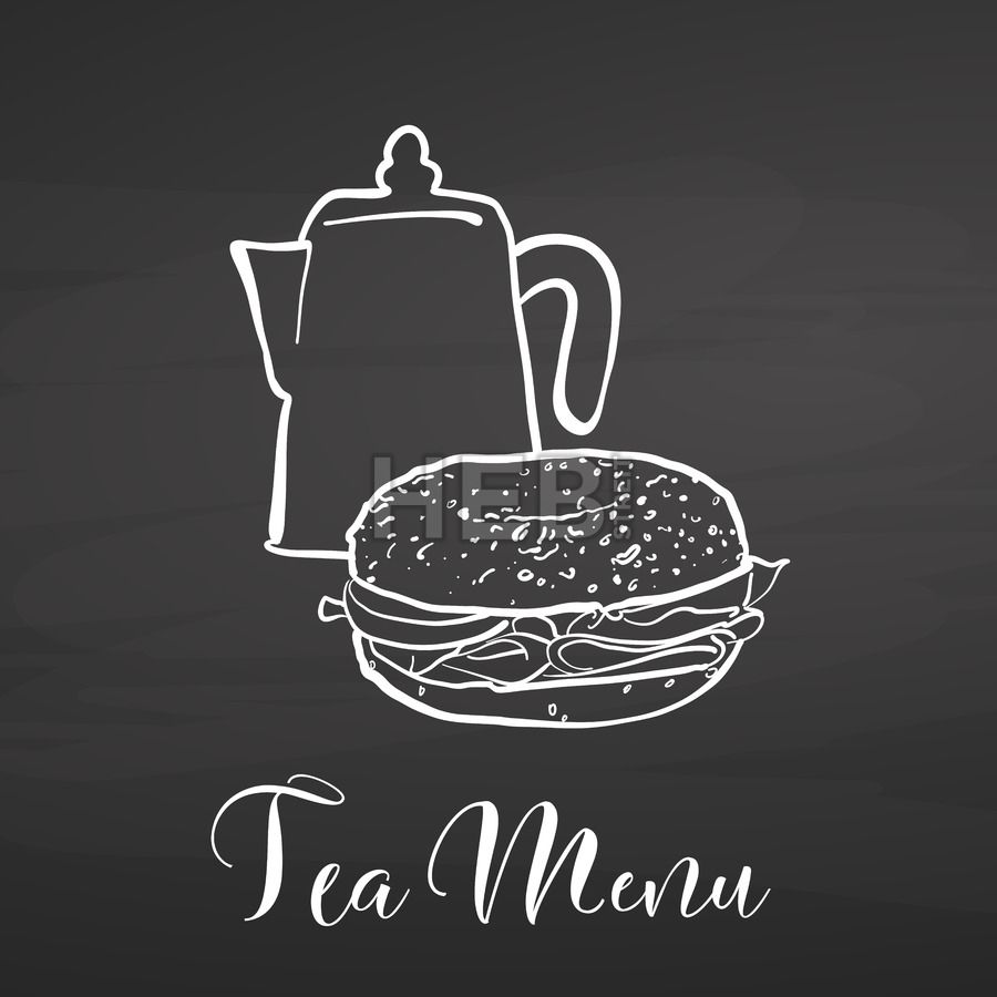 Tea Menu With Bagel On Chalkboard