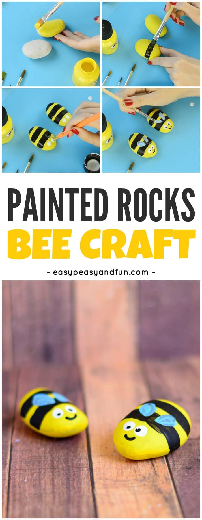 Bee Painted Rocks is part of Painted rocks kids, Painted rocks craft, Rock crafts, Painted rocks, Paint rock, Rock painting ideas easy - Ready to go rock hunting  Why not leave some rocks of your own while you are at it  We made a bunch of bee painted rocks and can't wait to leave them at secret places all around our town  this post contains affiliate links Painting rocks has been one of my favorite artsy activities since …