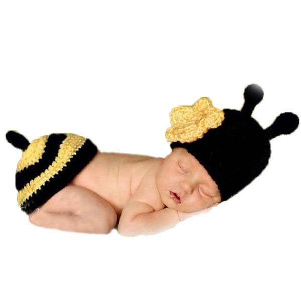 Kawaii flor amarillo bee ropa de bebé 0-3 meses recién nacido apoyos ...
