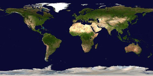 Earth, map from NASA/Goddard Spaceflight Center, from satellite images.