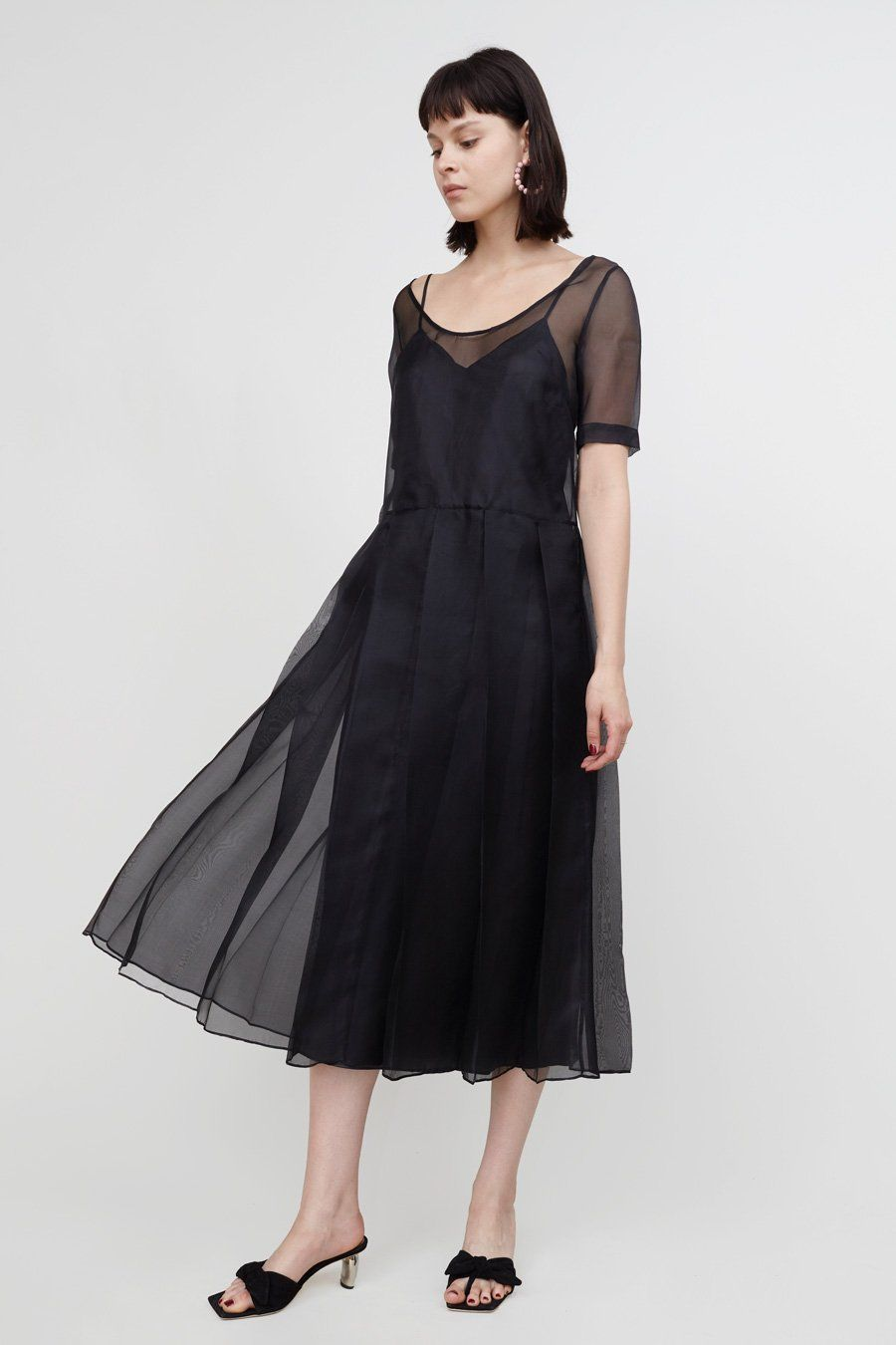 607f524932b4 Suzanne Rae Organza Dress with Slip in Black