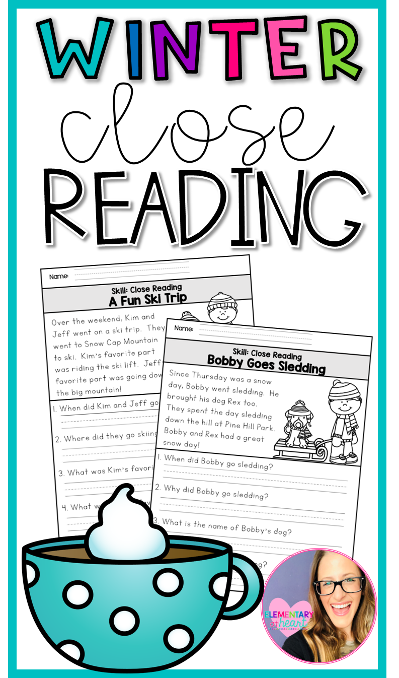 Winter Close Reading Close Reading Reading Comprehension Worksheets Elementary Reading [ 1346 x 793 Pixel ]
