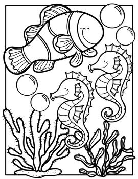 free ocean animals coloring book made by creative clips clipart free resources. Black Bedroom Furniture Sets. Home Design Ideas
