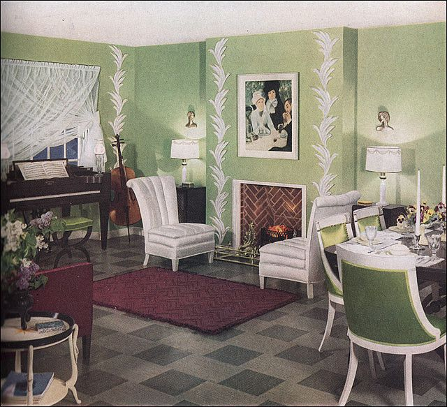 1936 Key Lime Living Room Retro Room Home Decor 1930s Home Decor