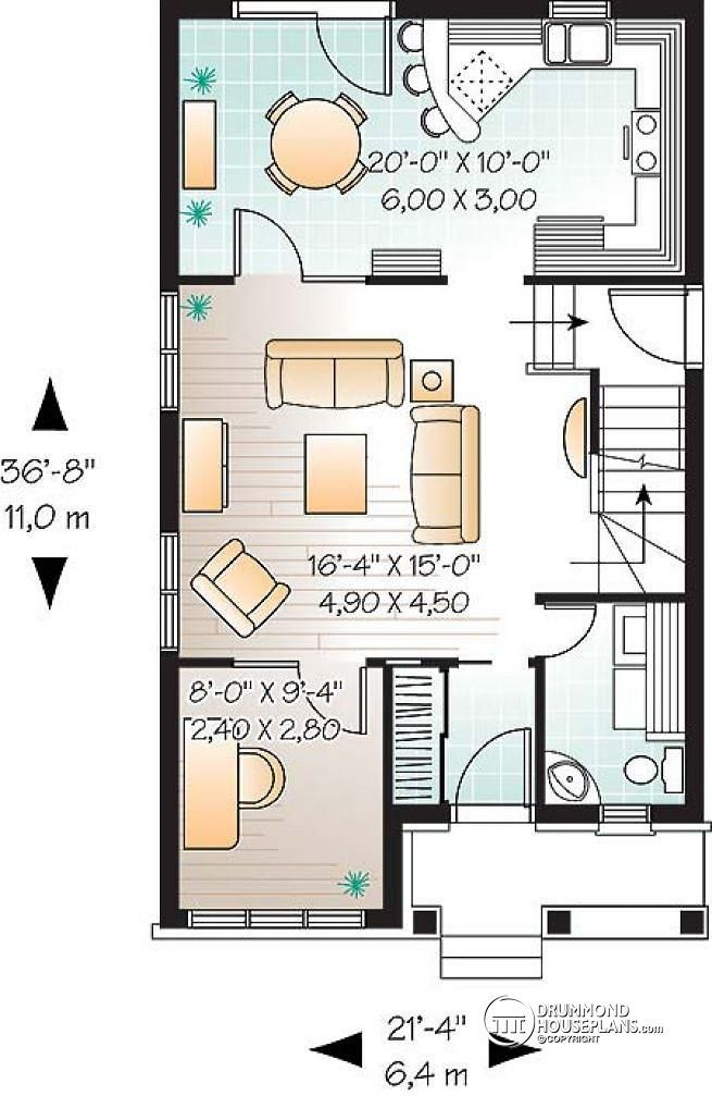 1st level Narrow lot house plan with 3 bedrooms and home office
