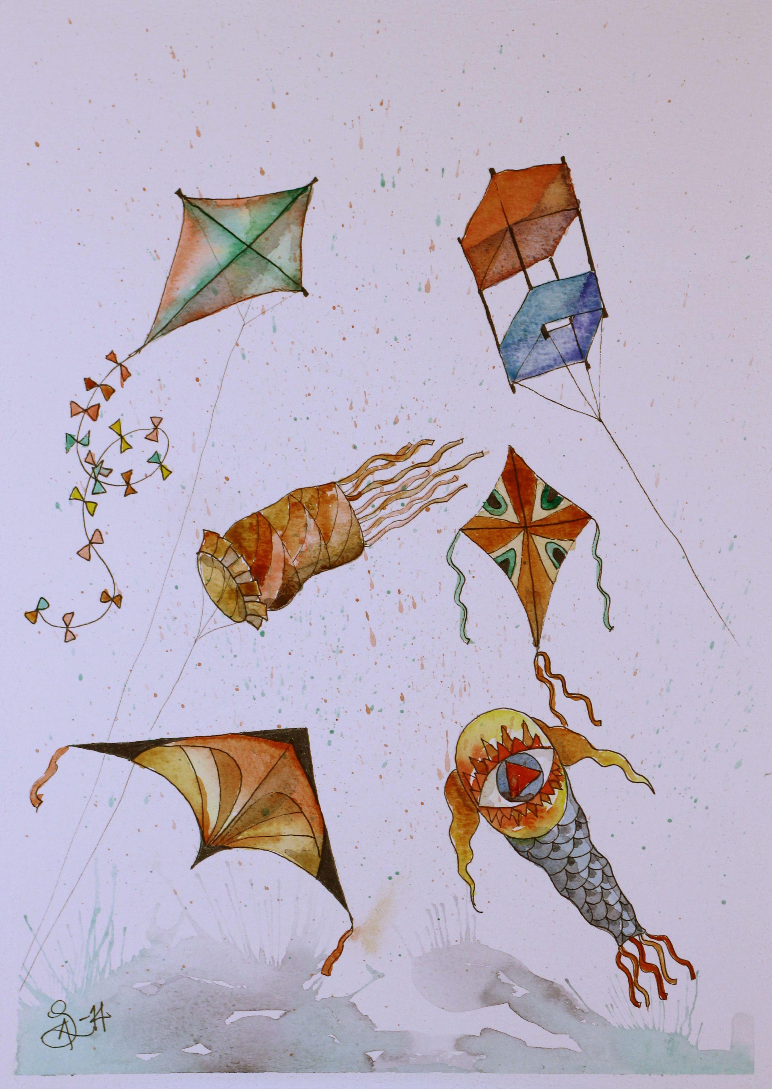 Kites Watercolor Painting Drawing Artwork Drawings
