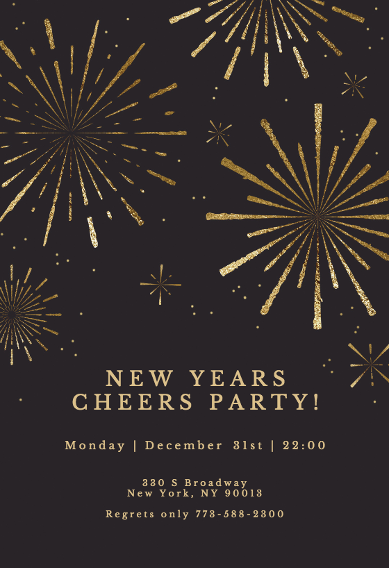 Golden fireworks New Year Invitation Template (Free