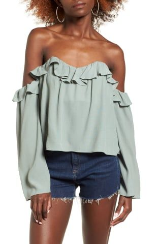 4SI3NNA Ruffle Off the Shoulder Blouse | No