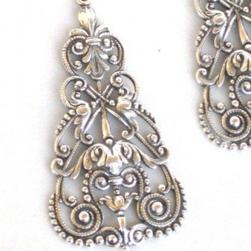 Antique Filigree Jewelry | Steampunk - VICTORIAN FILIGREE Dangle Earrings - Antique Silver - By ...