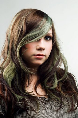 green highlights in brown hair