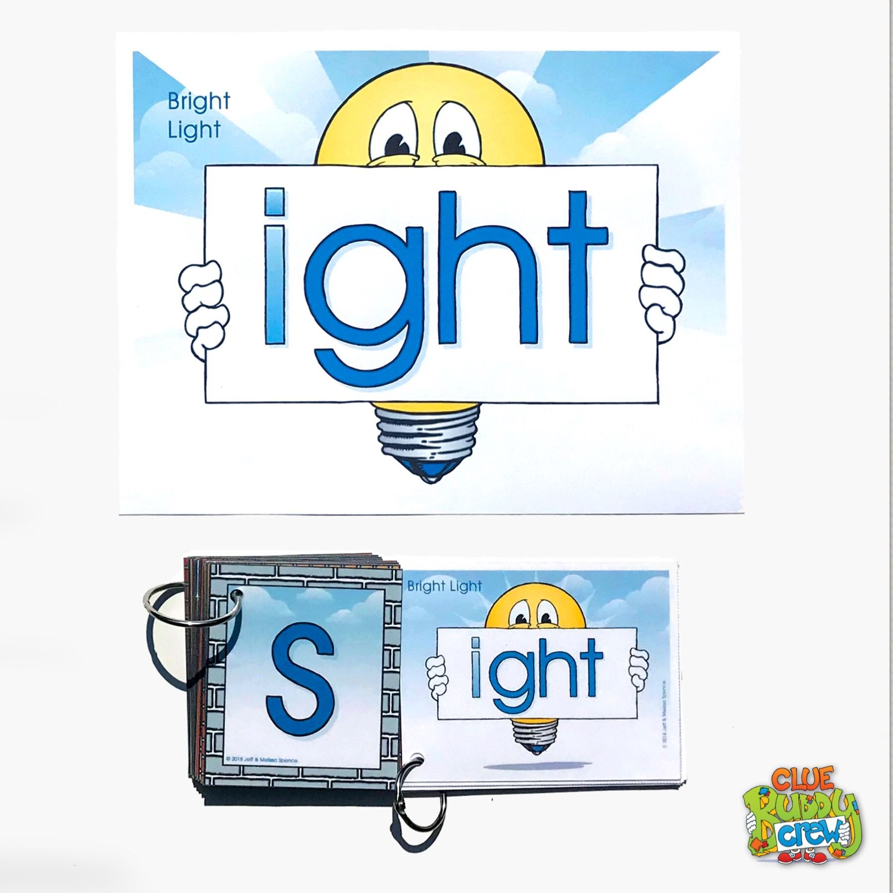 IGHT (Bright Light) Word Buddy Card and Poster with Alphabet Word