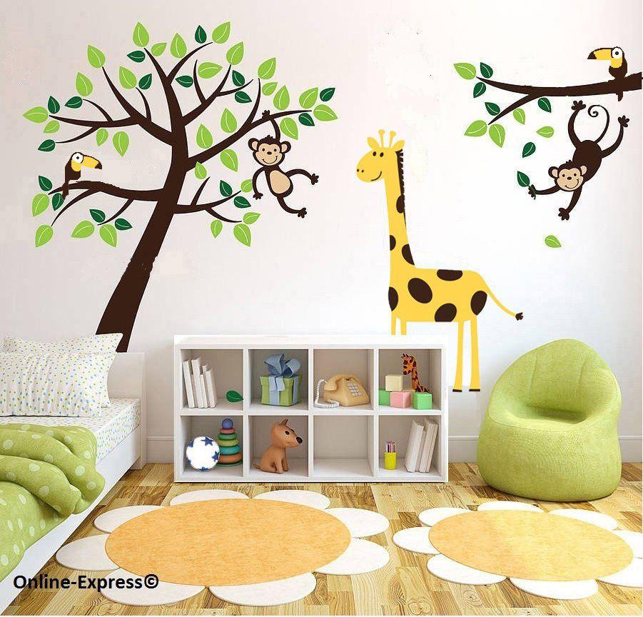 monkey tree jungle nursery wall art stickers decals giraffe