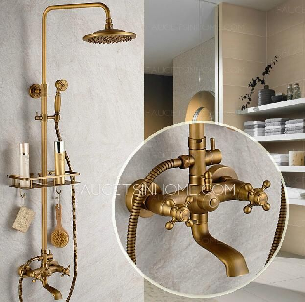 Vintage Brass Bathroom Outdoor Shower Faucets With Shelves Shower - Aged brass bathroom faucet