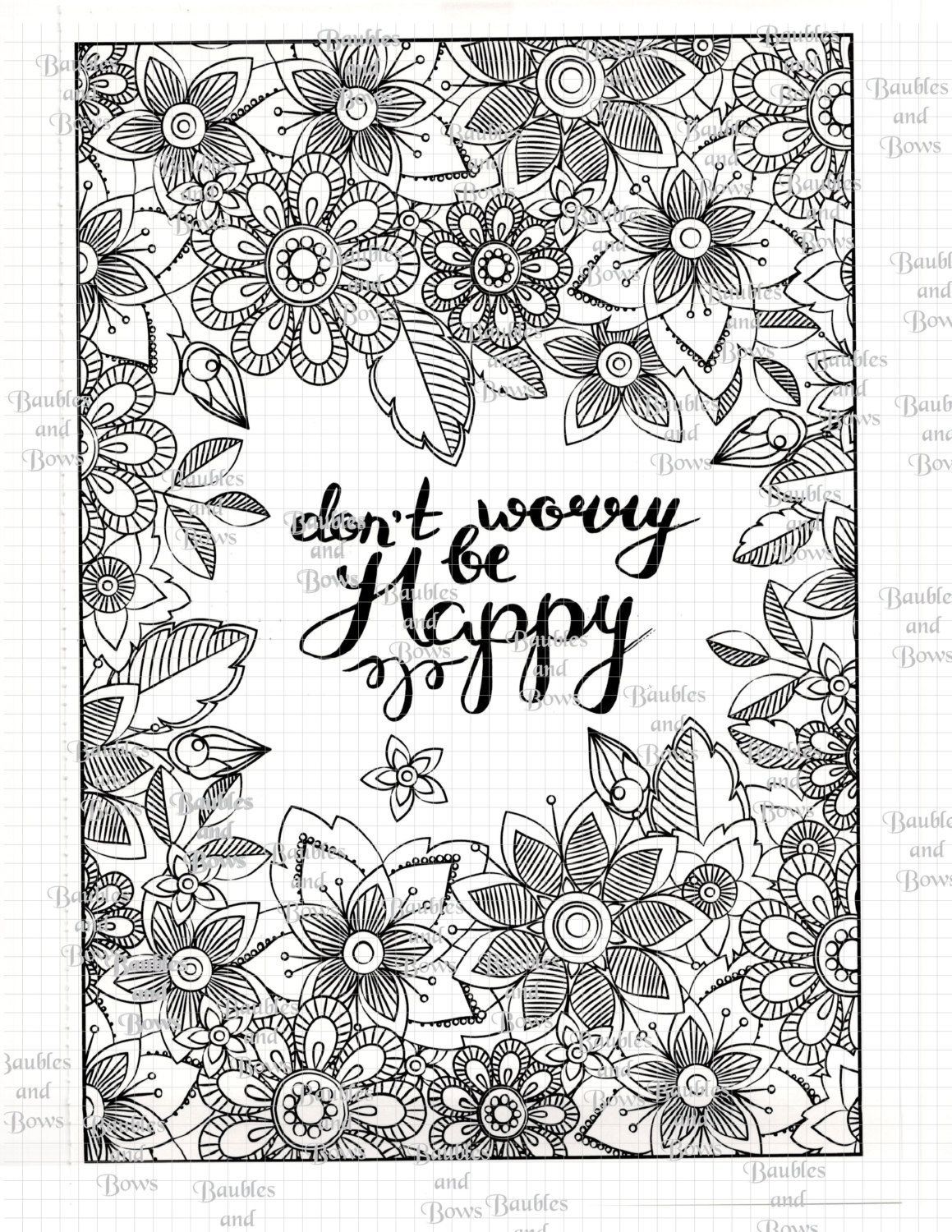 Mandala coloring pages art therapy recovery - Be Happy Printable Adult Mandala Coloring Page Digital By Sewlacee