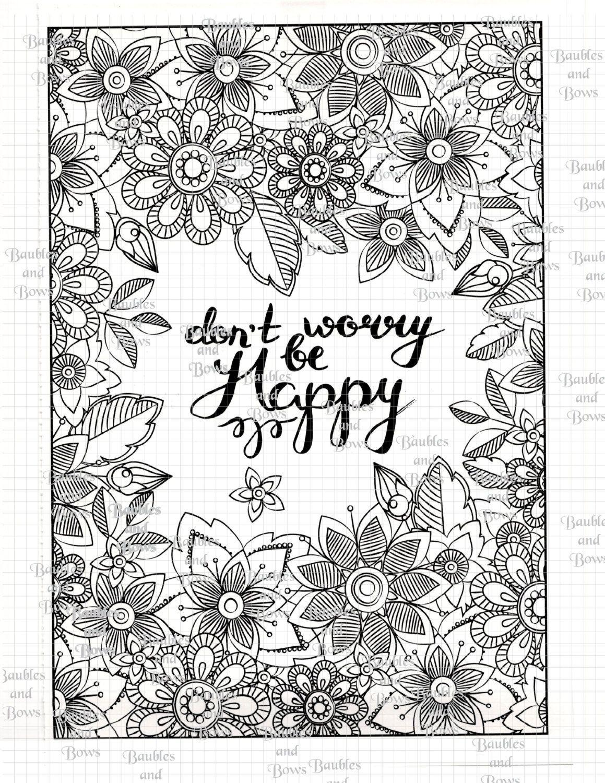 be happy printable mandala coloring page digital by sewlacee