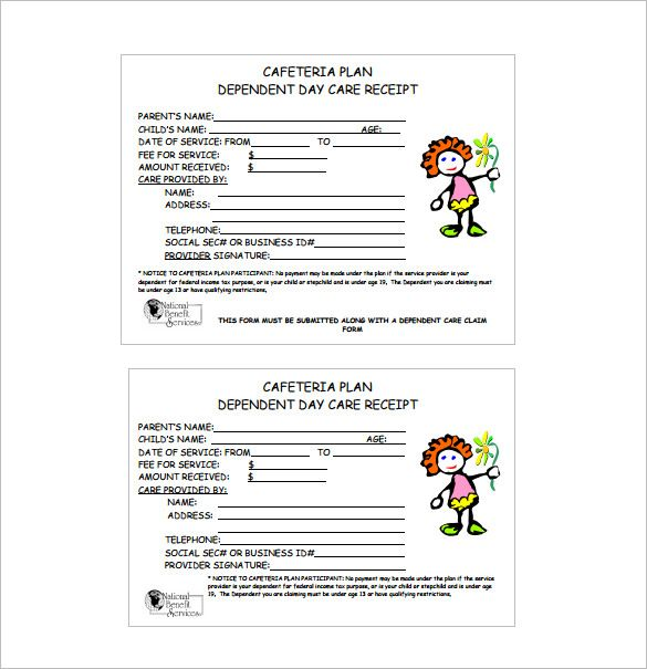 Day Care Receipt Template , Receipt Template Doc for Word - document receipt template