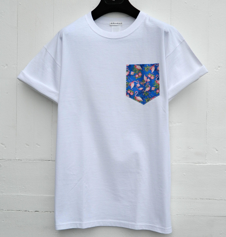 Pocket t shirt pink flamingos pattern pocket tee men 39 s for Pocket tee shirts for womens