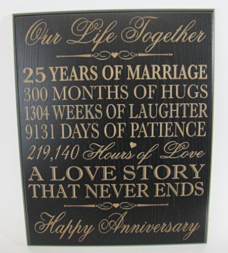 25th Wedding Anniversary Wall Plaque Gifts For Couple