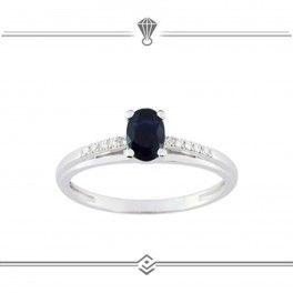 Solitaire saphir bleu et diamants - Or blanc 750/1000 - 18 carat gold